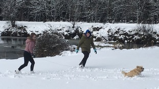 Loving our snow day of school with our dog Molly at Woodburn Reservoir, Co.Antrim.