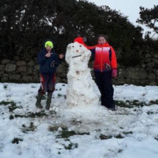 Oisin and Ella enjoying the snow at Ballymaderphy.