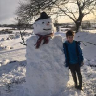 Enjoying the snow in Newtownabbey.