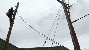 Thousands are without electricity after strong winds brought down power lines.
