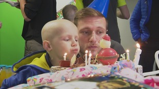 Leeds United players celebrated with Toby for his fifth birthday earlier this month