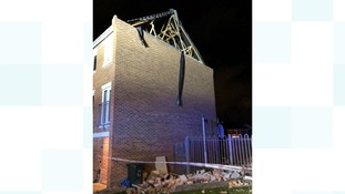 This house in Stoke Heath, Coventry,  had its roof blown off overnight.