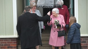 The Queen outside West Newton village hall for her annual meeting with the WI