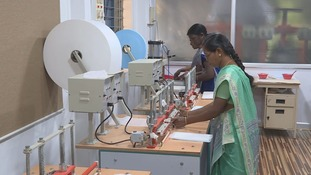 Women use the machines to create sanitary products.