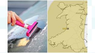 Ice scraper and Met Office map