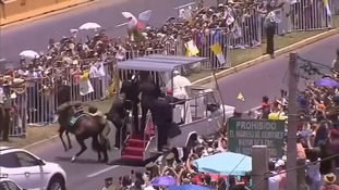 Mounted officer injured after popemobile startles horse in Chile