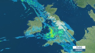 Rain could turn to snow on hills as it pushes eastwards Sunday morning