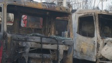 Three lorries were completely destroyed in the blaze.