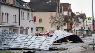 The roof of a supermarket in Germany was ripped off by the wind.