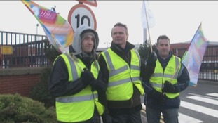 Unilever workers on picket line