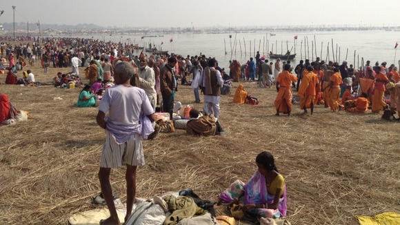Some of the 100 million people expected to take part in the Kumbh Mela in Allalhabad, India