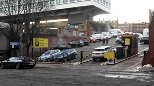 The entrance into the car park where cars had struggled to climb