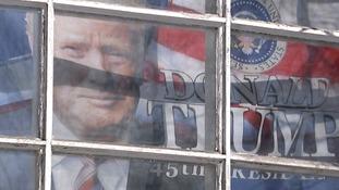 A Trump banner