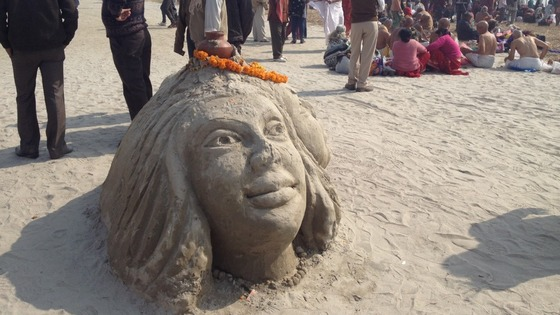 A sandcastle depicting the Hindu goddess Shiva