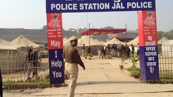 A temporary police station in Allahabad