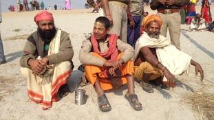 Sadhus - or holymen - attending the Kumbh Mela festival in Allahabad