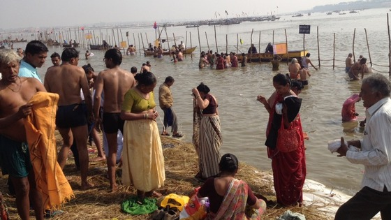 Hindu pilgrims in Allahabad, India where three holy rivers converge