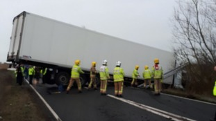 The lorry blocked the carriageway between Acle & Halvergate.
