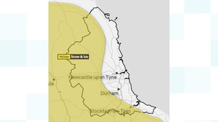Yellow weather warning for snow and ice