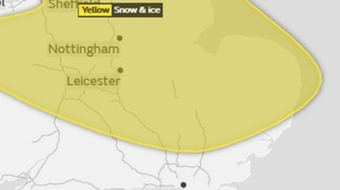 The area covered by the yellow weather warning for snow and ice on Sunday.
