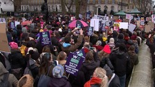 Women's rights campaigners stage Time's Up rally