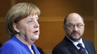 Angela Merkel and Martin Schulz.