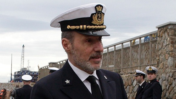 Coastguard officer De Falco at the ceremony to commemorate the first anniversary of the Costa Concordia shipwreck.