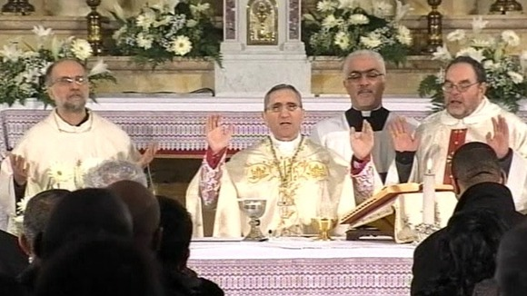 Priests holding Mass for victims of the Costa Concordia disaster 