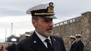 Coastguard officer De Falco at the ceremony to commemorate the first anniversary of the Costa Concordia shipwreck