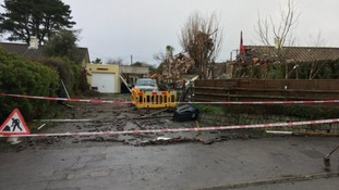A man has to be rescued after a bungalow exploded.
