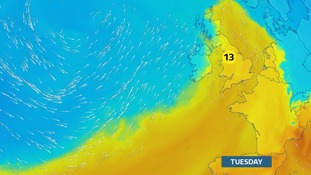 Milder Tuesday.  Wet & windy into Wednesday