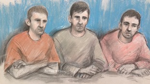 Court artist sketch of Scott Keeping, Jason Baccus and Kevin Downton during their trial.