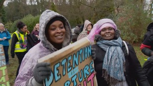 Protestors outside Morton Hall