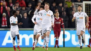 Premier League: Bottom of the table Swansea beat Liverpool to halt Reds' top four ambitions