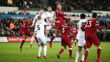 Swansea City celebrates after victory against Liverpool