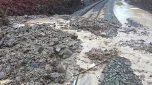 Landslide on railway line