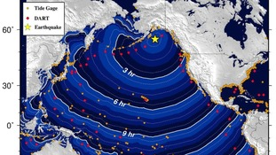 Tsunami waves could hit the Alaska coast within hours.