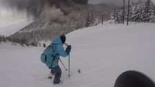 Snowboarders flee for their lives as volcano erupts