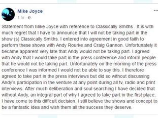 Mike Joyce's statement