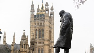 Winston Churchill is one of several former leaders commemorated outside parliament.