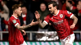 Bristol City's Marlon Pack celebrates scoring his side's first goal of the game.