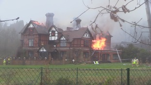 Two people rescued from huge fire at guest house in Surrey