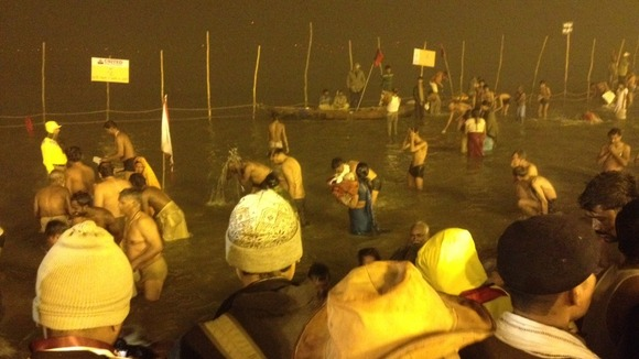 The final bathers are cleared before first light