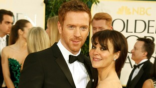 Damian Lewis arriving on the red carpet with his wife Helen McCrory