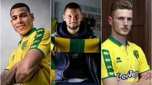 Onel Hernández (left), Moritz Leitner (centre) and Dennis Srbeny (right) all joined Norwich City on Thursday.
