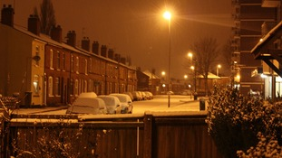 A street covered in snow