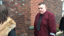 Chey Clark leaving a previous Carlisle Crown Court hearing
