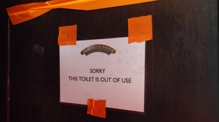 The toilet was marked as out of use but it was too late for the boy's mother to stop him.