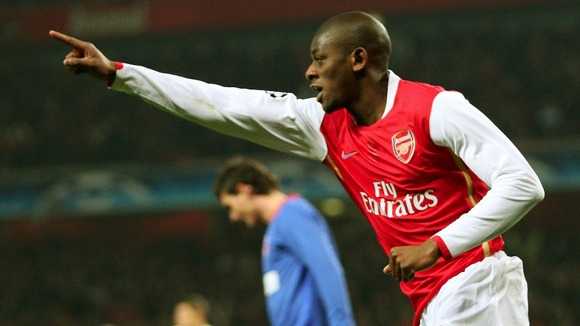 Arsenal's Abou Diaby celebrates his goal against Steaua Bucharest