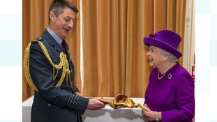 The Queen presenting the Firmin Sword of Peace to Group Captain Townsend
